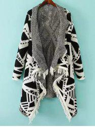 Shawl Collar Geometric Pattern Cardigan