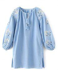 Embroidered Sleeve Peasant Blouse -
