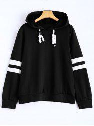 Hooded Striped Sweatshirt - BLACK S