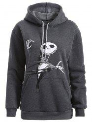 Plus Size Halloween Ghost Print Graphic Hoodie - DEEP GRAY