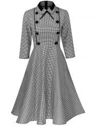 Plus Size Vintage Houndstooth Print Pin Up Dress -