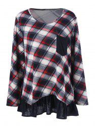 Plus Size Flounced Plaid T-Shirt -