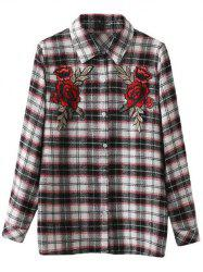 Floral Embroidered Patched Tartan Shirt -