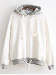 Letter Embroidered Fleeced Hoodie -