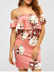 Floral Printed Off The Shoulder Fitted Dress