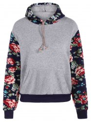 Stylish Long Sleeve Floral Spliced Women's Pullover Hoodie