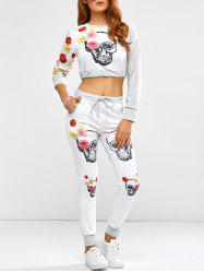 Active Rose Skull Print Crop Top and Running Jogger Pants - WHITE