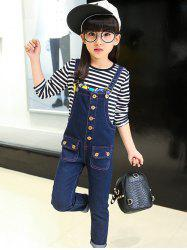 Metal Button Denim Overalls -