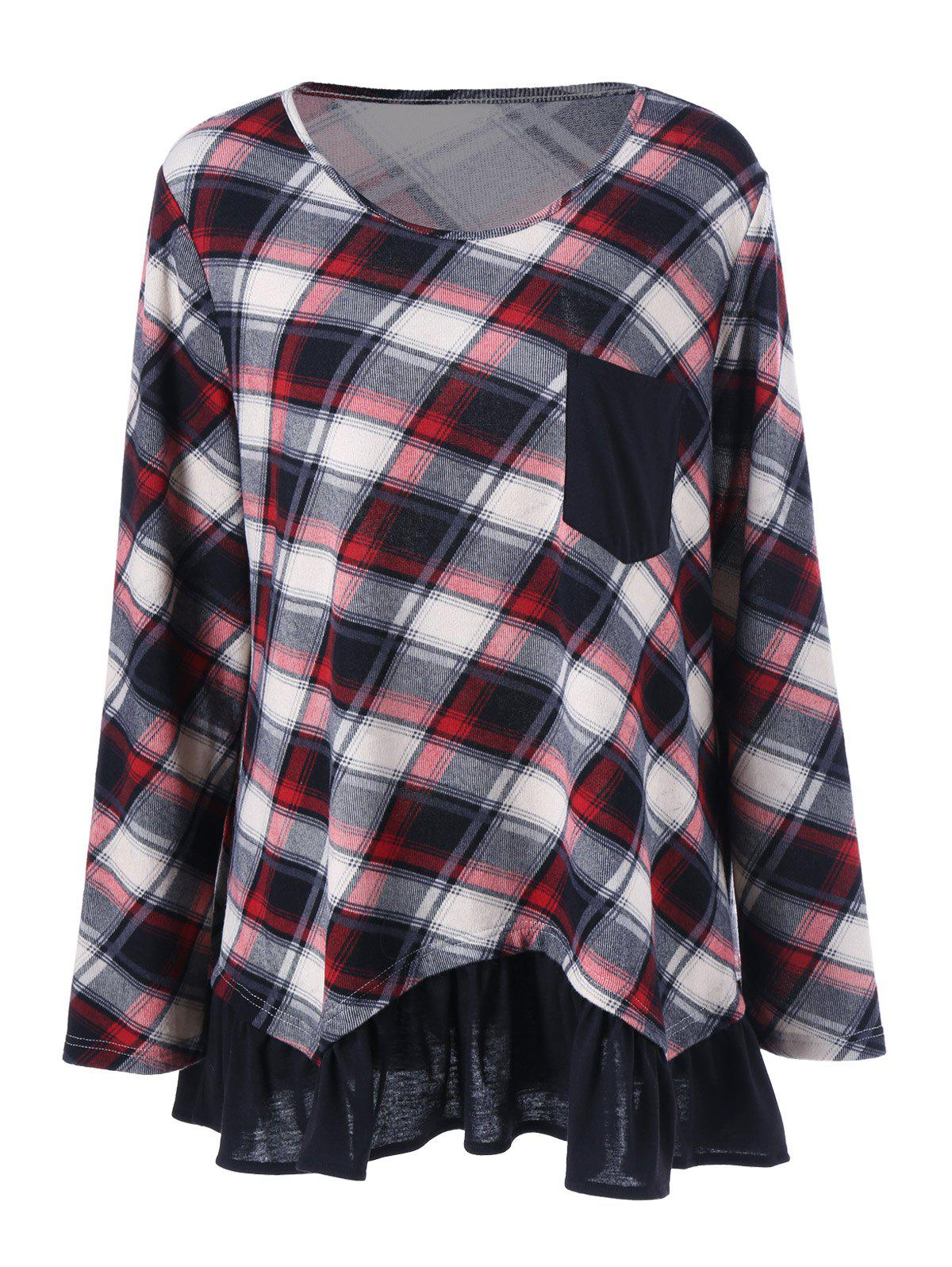 Plus Size Flounced Plaid T-ShirtWOMEN<br><br>Size: 3XL; Color: CHECKED; Material: Polyester,Spandex; Shirt Length: Long; Sleeve Length: Full; Collar: Scoop Neck; Style: Casual; Season: Fall,Spring; Pattern Type: Plaid; Weight: 0.3900kg; Package Contents: 1 x T-Shirt;
