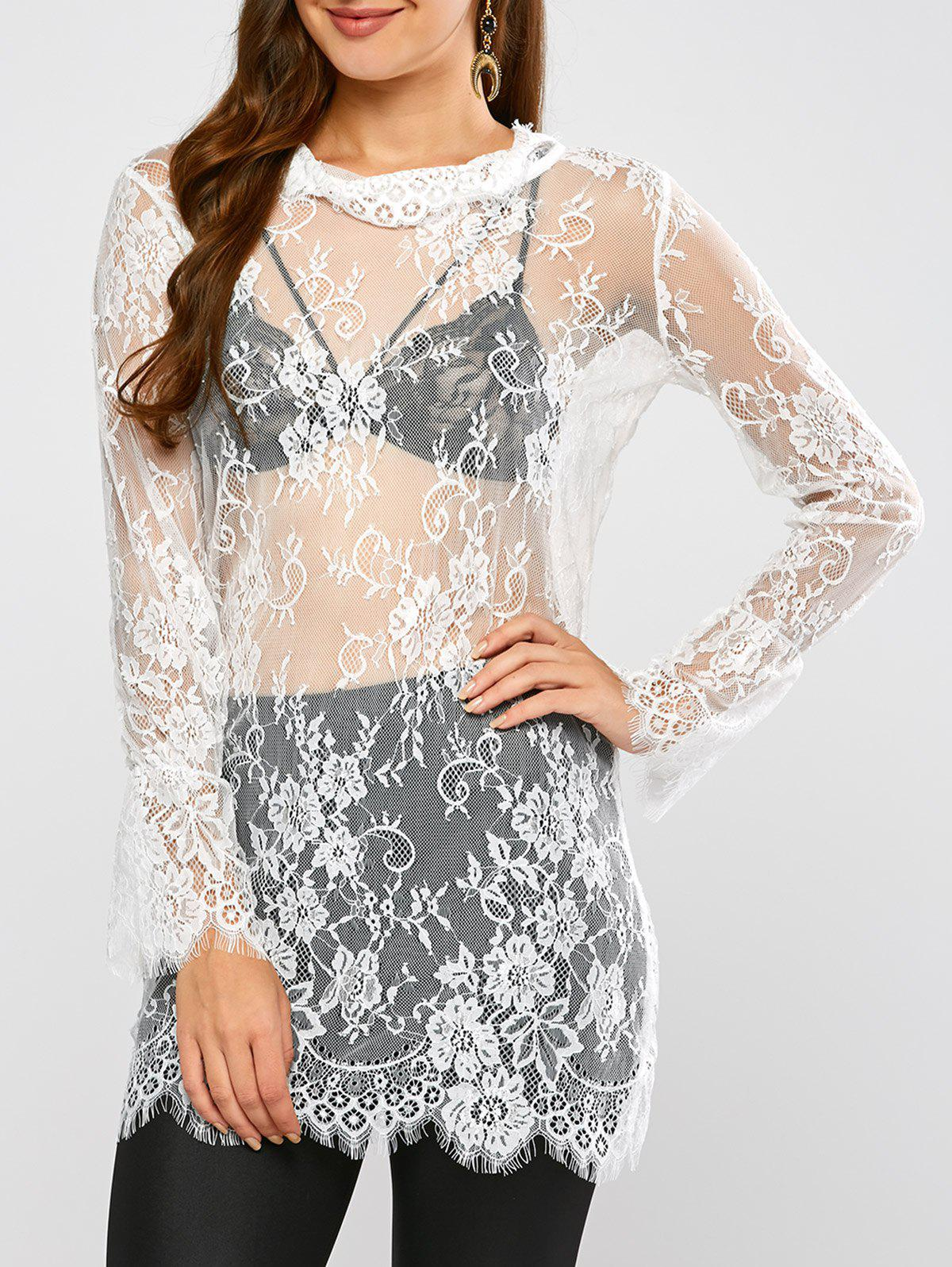 Best Lace Long Sleeve Sheer Tunic Cover-Up