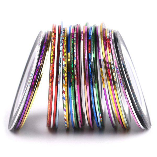 30 Colours Roll Nail Art Stickers Nail Art Strip TapesBEAUTY<br><br>Color: COLORMIX; Weight: 0.100kg; Package Content: 1 x Nail Stickers (Set);