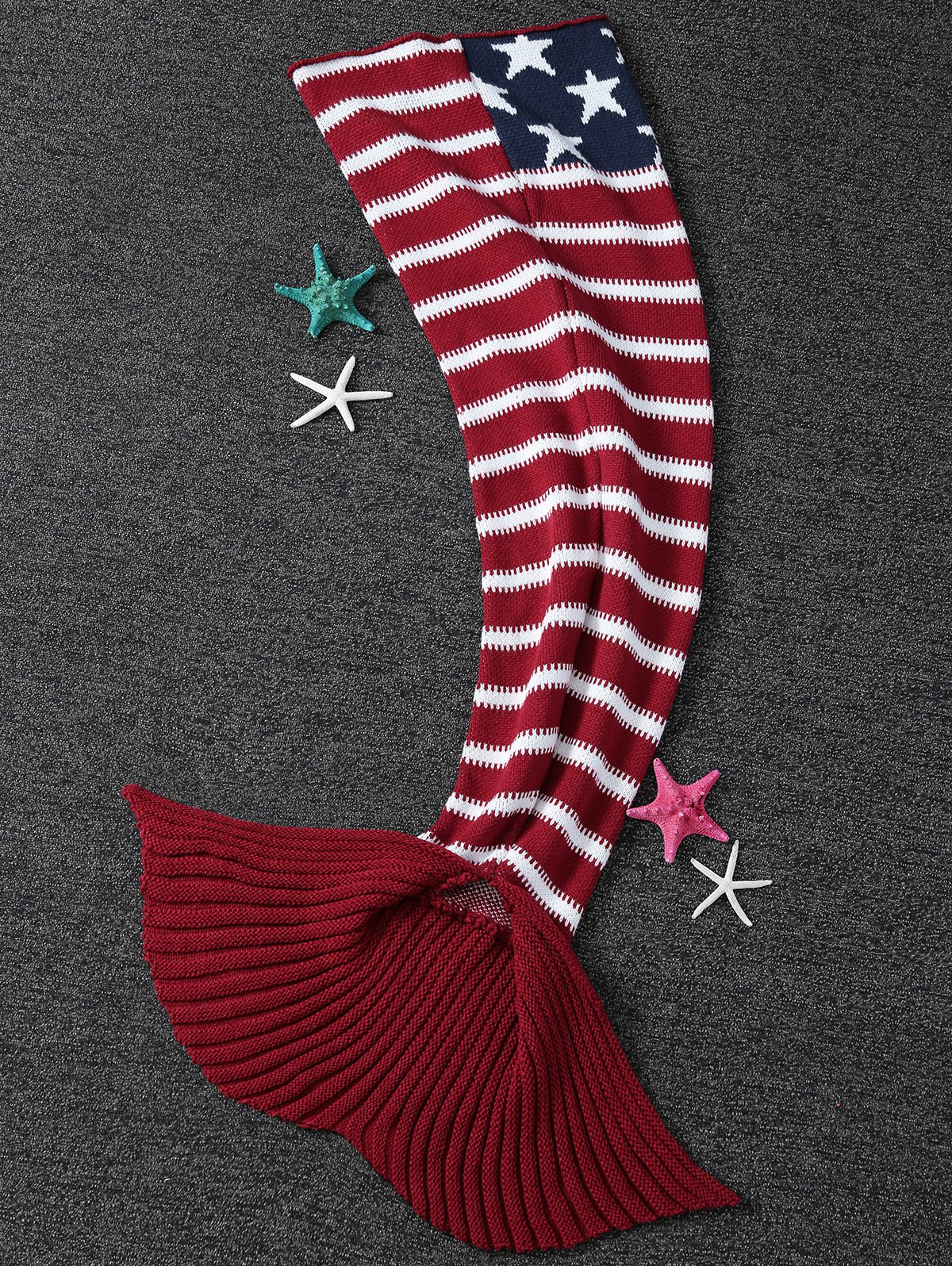Affordable Thicken American Flag Design Knitted Mermaid Tail Blanket
