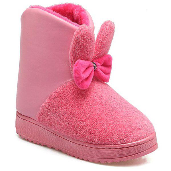 Fancy PU Spliced Bowknot Rabbit Ear Snow Boots