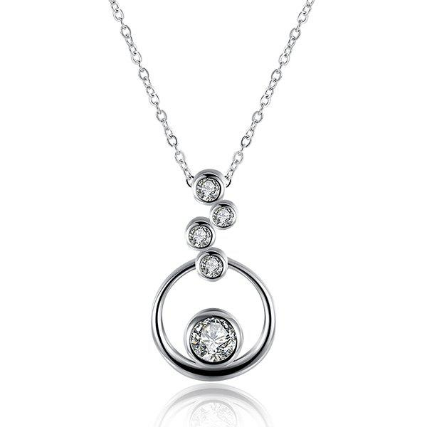 Rhinestone Bubble NecklaceJEWELRY<br><br>Color: SILVER; Item Type: Pendant Necklace; Gender: For Women; Necklace Type: Link Chain; Material: Rhinestone; Metal Type: Silver Plated; Style: Trendy; Shape/Pattern: Round; Weight: 0.020kg; Package Contents: 1 x Necklace;