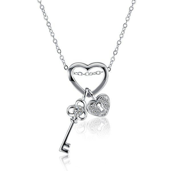 Heart Key Rhinestone NecklaceJEWELRY<br><br>Color: SILVER; Item Type: Pendant Necklace; Gender: For Women; Necklace Type: Link Chain; Material: Rhinestone; Metal Type: Silver Plated; Style: Trendy; Shape/Pattern: Heart; Weight: 0.020kg; Package Contents: 1 x Necklace;