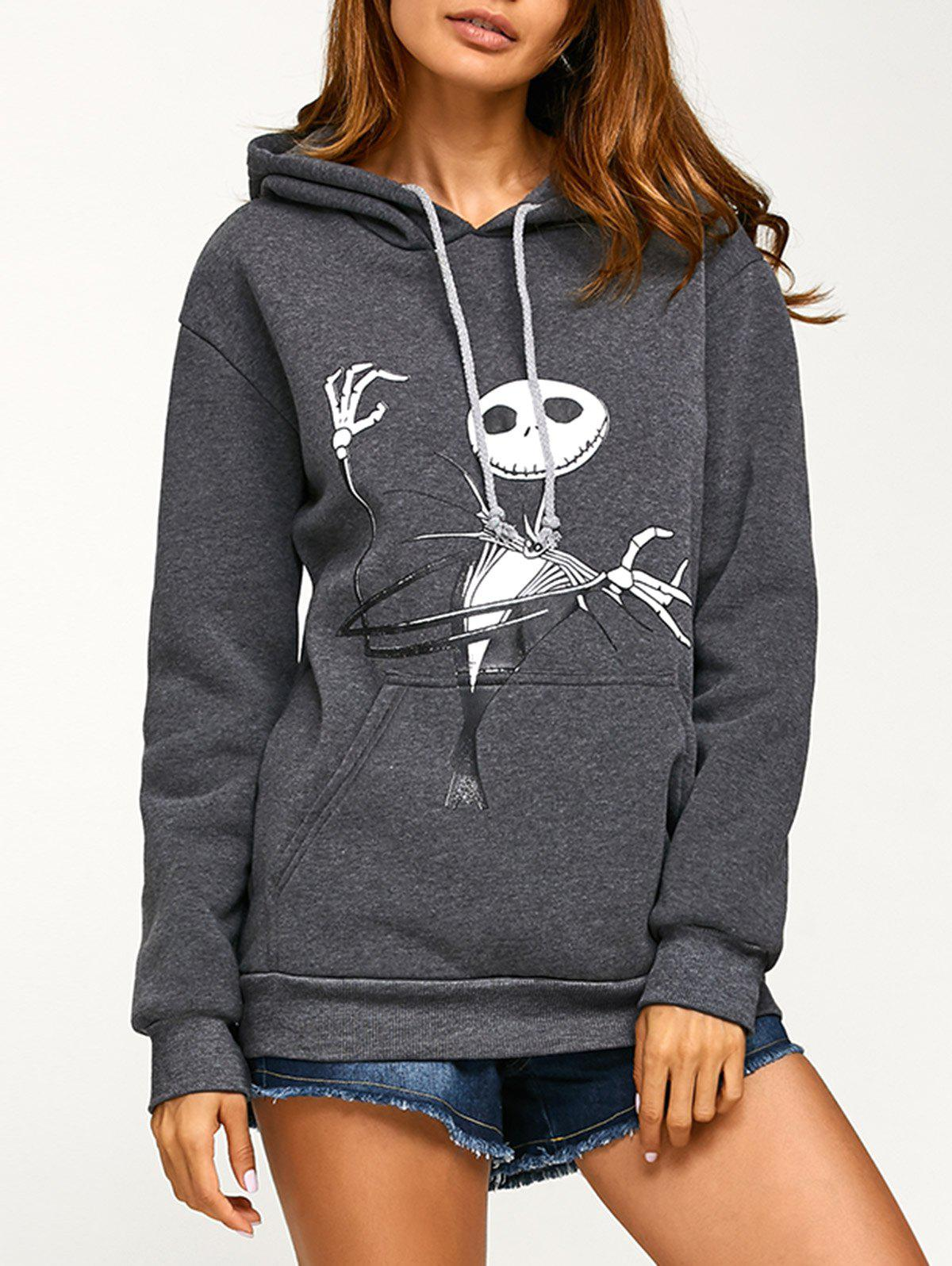Drawstring Halloween Ghost Print HoodieWOMEN<br><br>Size: M; Color: DEEP GRAY; Material: Polyester; Shirt Length: Long; Sleeve Length: Full; Style: Casual; Pattern Style: Others; Season: Fall,Spring,Winter; Weight: 0.470kg; Package Contents: 1 x Hoodie;