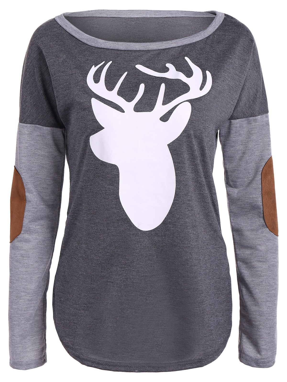 Christmas Elbow Patch Reindeer Print TeeWOMEN<br><br>Size: XL; Color: GRAY; Material: Polyester; Sleeve Length: Full; Collar: Scoop Neck; Style: Casual; Pattern Type: Animal; Season: Fall,Spring; Weight: 0.420kg; Package Contents: 1 x Tee;