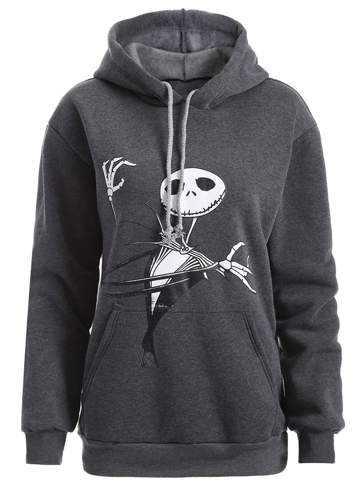 Plus Size Halloween Ghost Print Graphic HoodieWOMEN<br><br>Size: 2XL; Color: DEEP GRAY; Material: Polyester; Shirt Length: Long; Sleeve Length: Full; Style: Casual; Pattern Style: Skulls; Season: Fall,Spring,Winter; Weight: 0.5200kg; Package Contents: 1 x Hoodie;