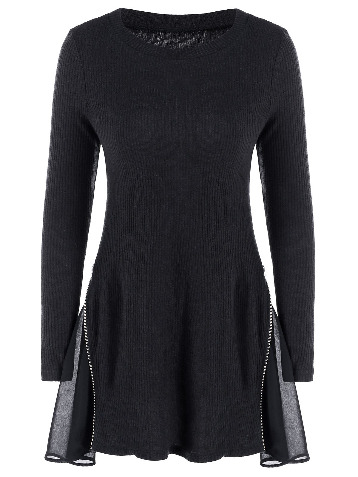 Side Zip Ribbed A Line Jumper Dress