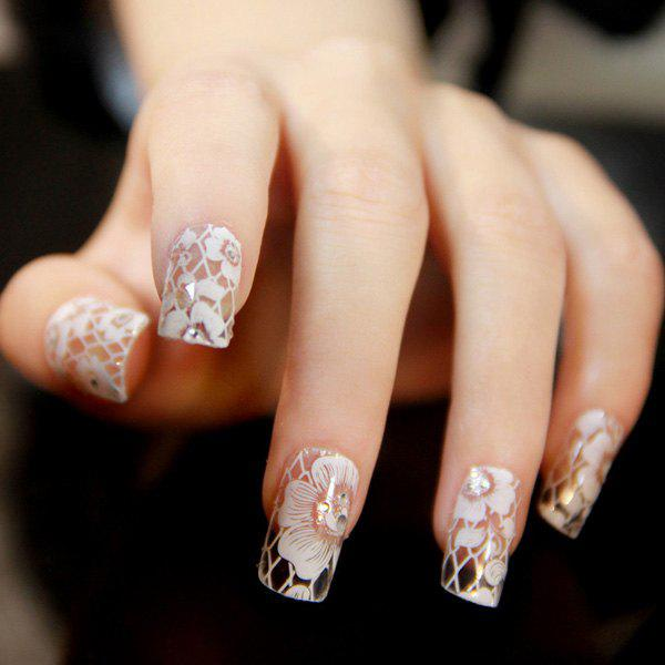 One Sheet Flower Nail Art StickersBEAUTY<br><br>Color: WHITE; Weight: 0.040kg; Package Content: 1 x Nail Stickers (Sheet);