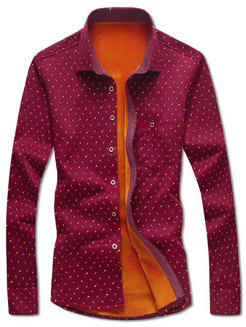 Latest Turndown Collar Moustache and Tobacco Pipe Print Flocking Shirt