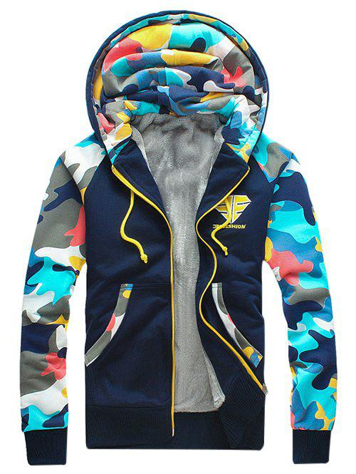 Store Camouflage Splicing Zip Up Flocking Hoodie
