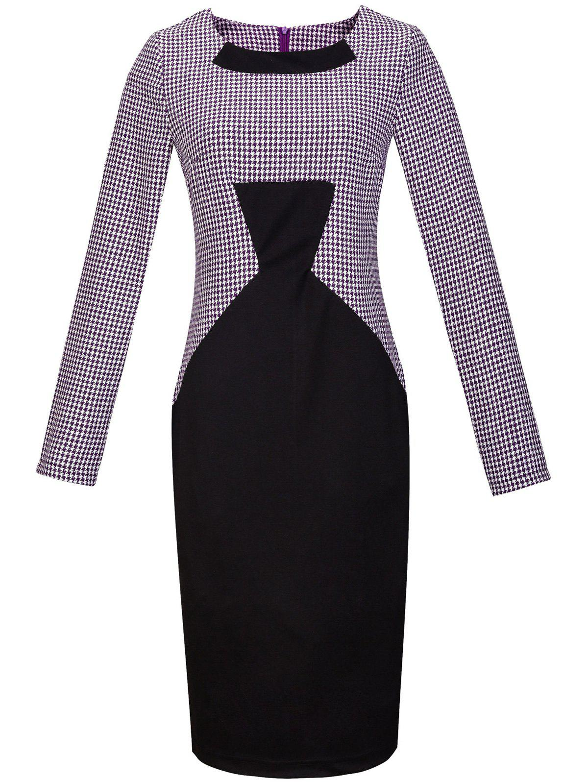 Buy Houndstooth Print Long Sleeve Bodycon Dress