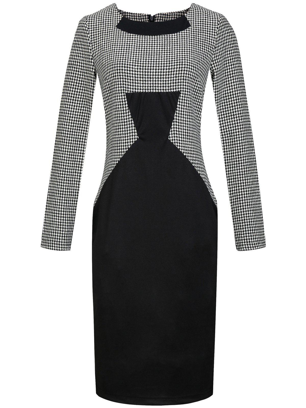 Outfits Houndstooth Print Long Sleeve Bodycon Dress