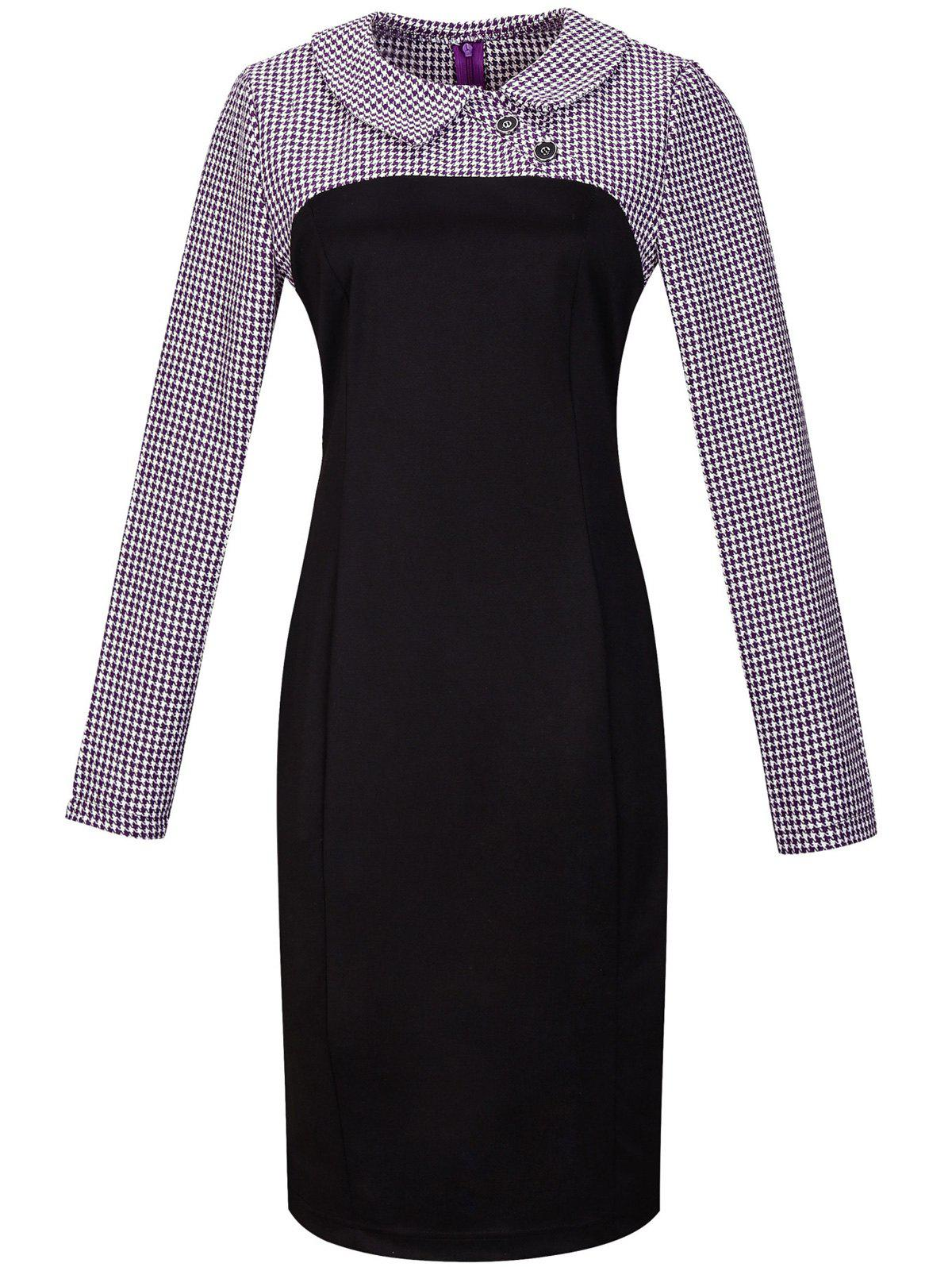 Discount Houndstooth Long Sleeve Pencil Dress