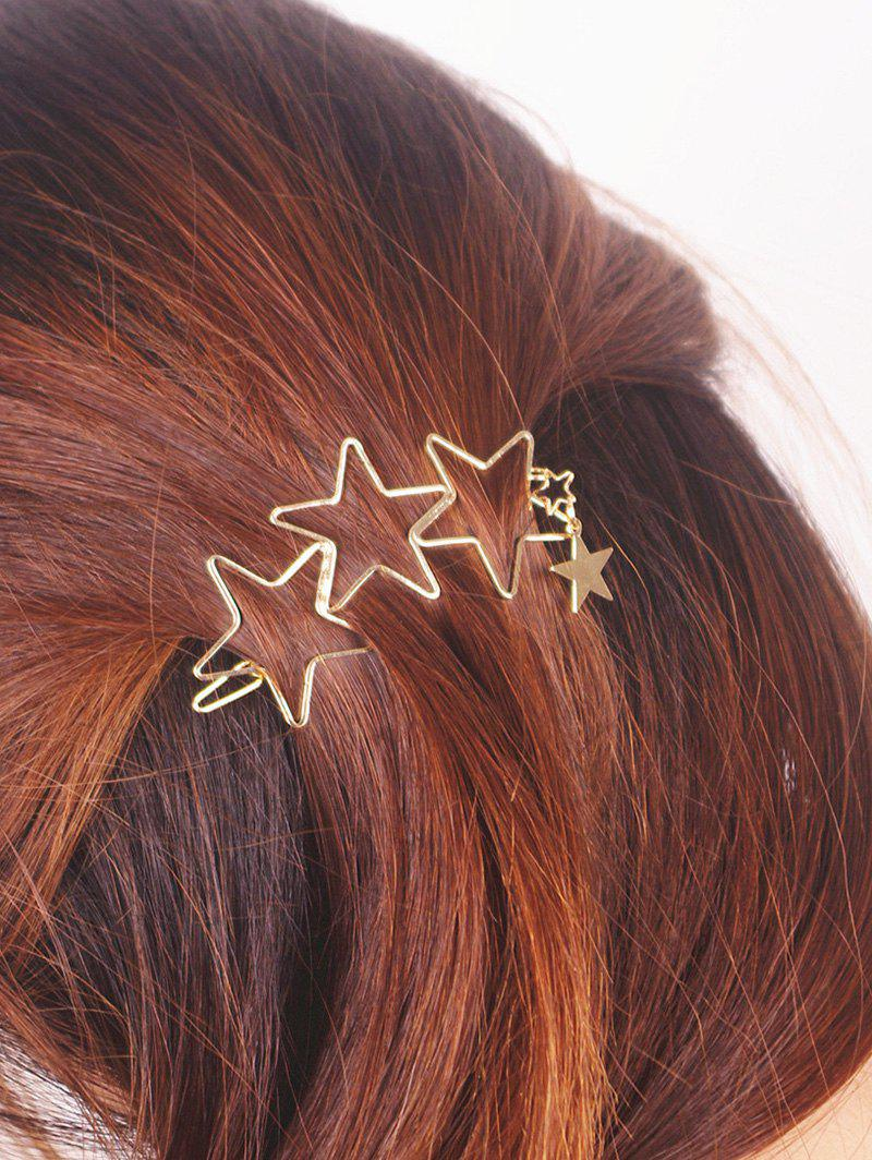 Star Hollowed HairpinACCESSORIES<br><br>Color: GOLDEN; Headwear Type: Hairpins; Group: Adult; Gender: For Women; Style: Fashion; Pattern Type: Star; Weight: 0.025kg; Package Contents: 1 x Hairpin;