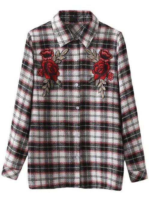 Shop Floral Embroidered Patched Tartan Shirt