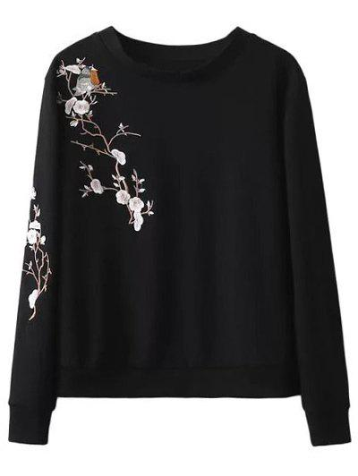 Chic Crew Neck Floral Bird Embroidered Sweatshirt