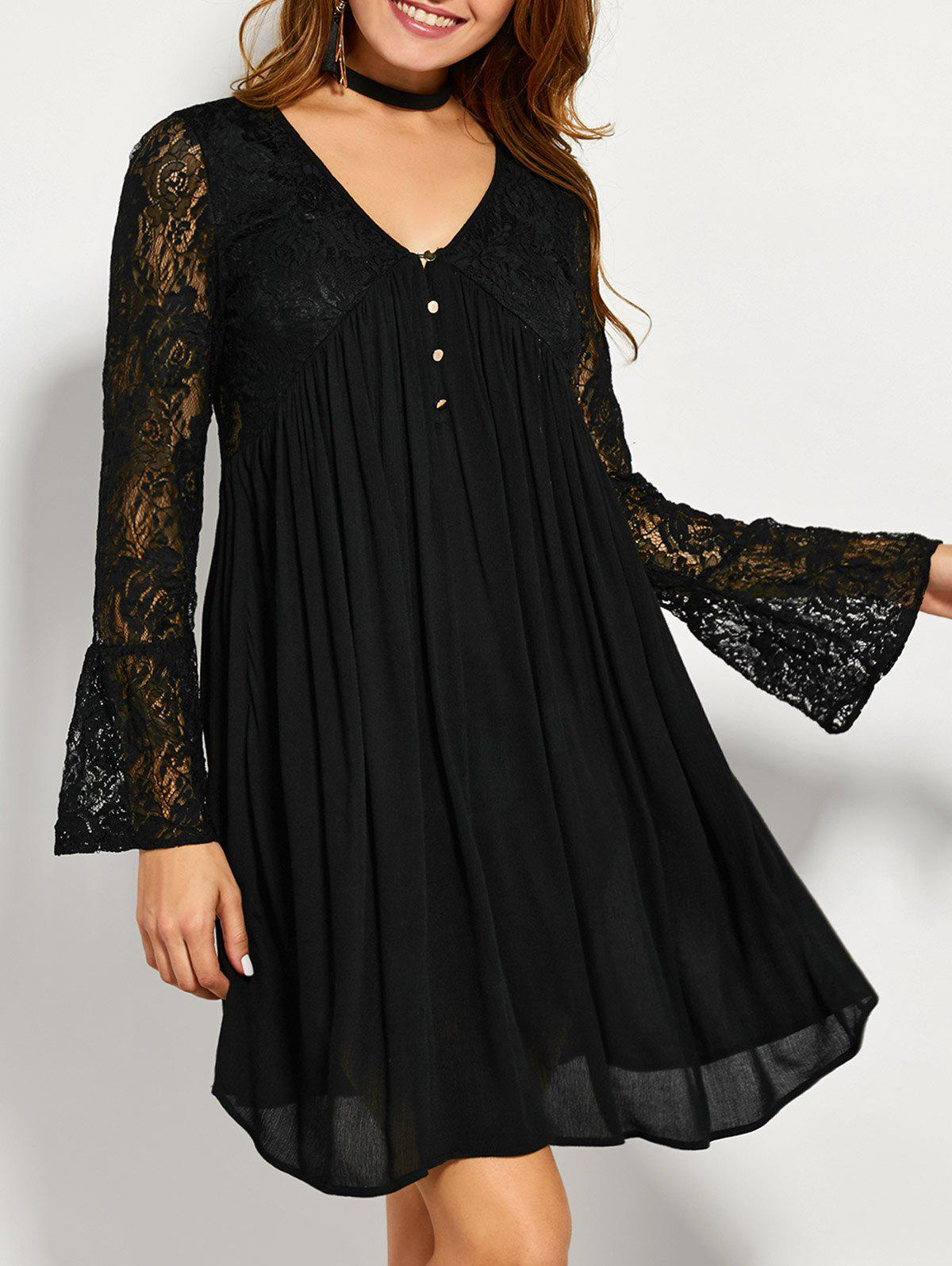 Unique Lace Panel Long Sleeve A Line Tunic Dress