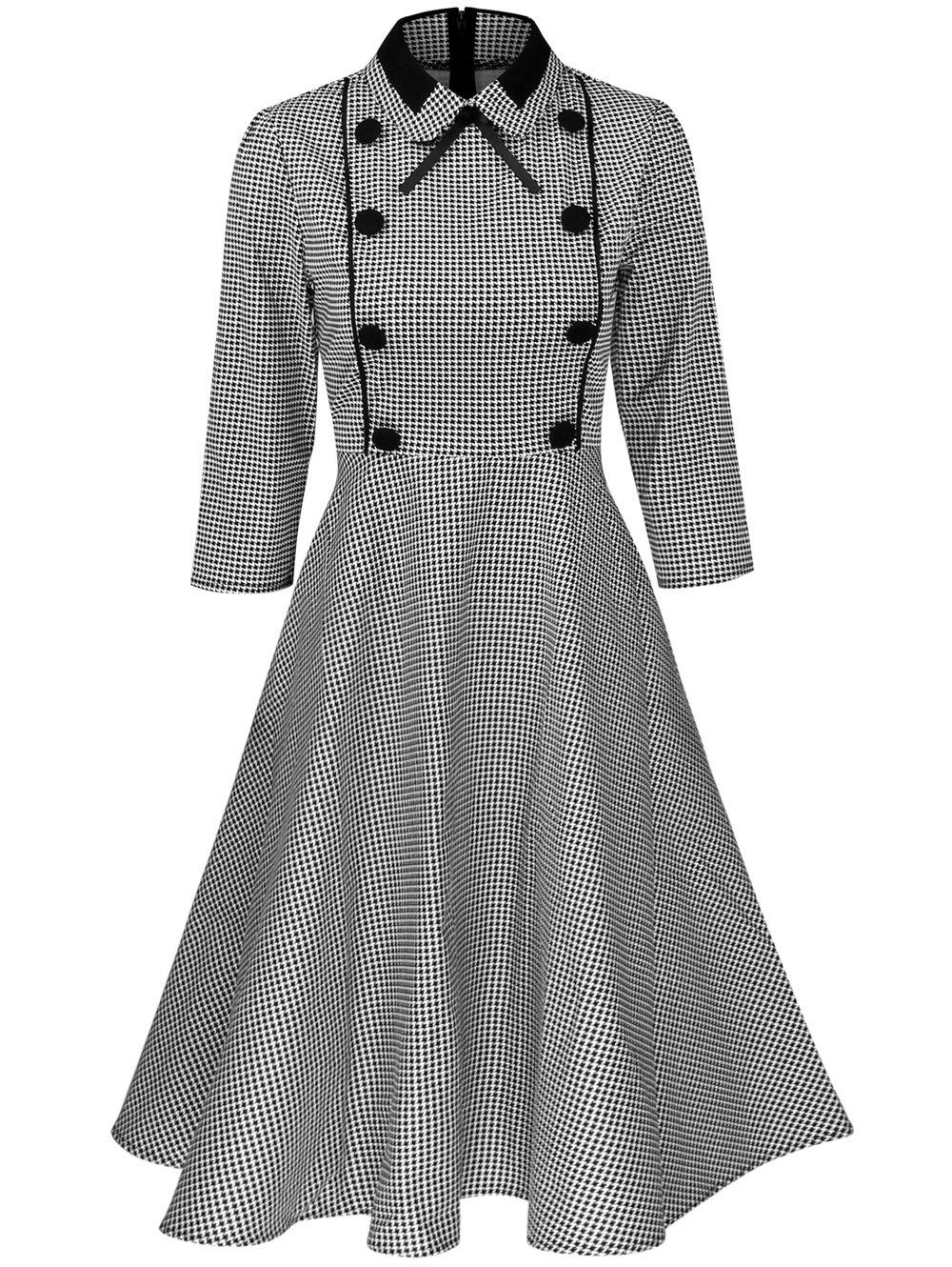 Hot Plus Size Vintage Houndstooth Print Pin Up Dress