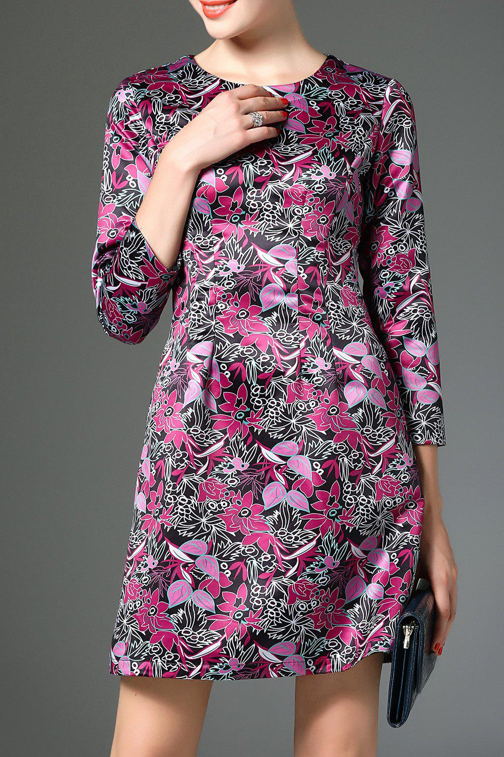 Fashion A Line Dress With Floral Print