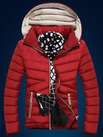 Best Color Block Edging Design Zip Up Quilted Jacket