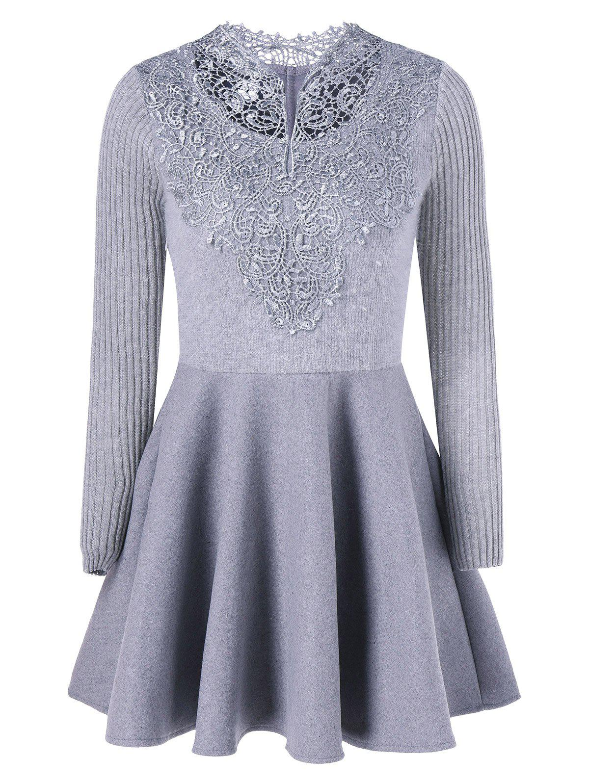 Fancy Lace Insert Knit Fit And Flare Dress