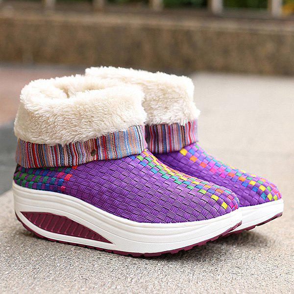 Sale Colored Weaving Fuzzy Platform Boots