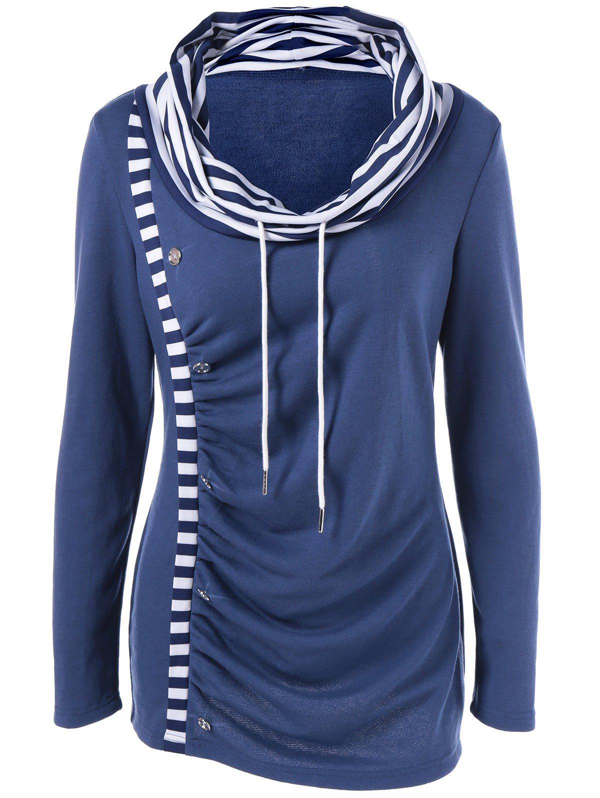 Outfits Cowl Neck Striped Trim Ruched T-Shirt