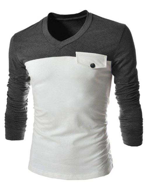 Modish V-Neck Two Color Splicing Fake Pocket Slimming Long Sleeve Polyester T-Shirt For MenMEN<br><br>Size: L; Color: GRAY; Style: Fashion; Material: Polyester; Sleeve Length: Full; Collar: V-Neck; Embellishment: Pockets; Pattern Type: Patchwork; Weight: 0.256kg; Package Contents: 1 x T-Shirt;