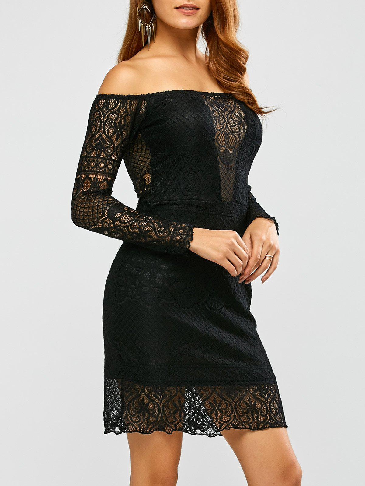 Cheap Lace Off Shoulder Bodycon Night Out Dress