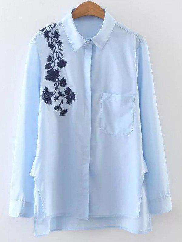 Chic Embroidered Long Sleeve High Low Shirt