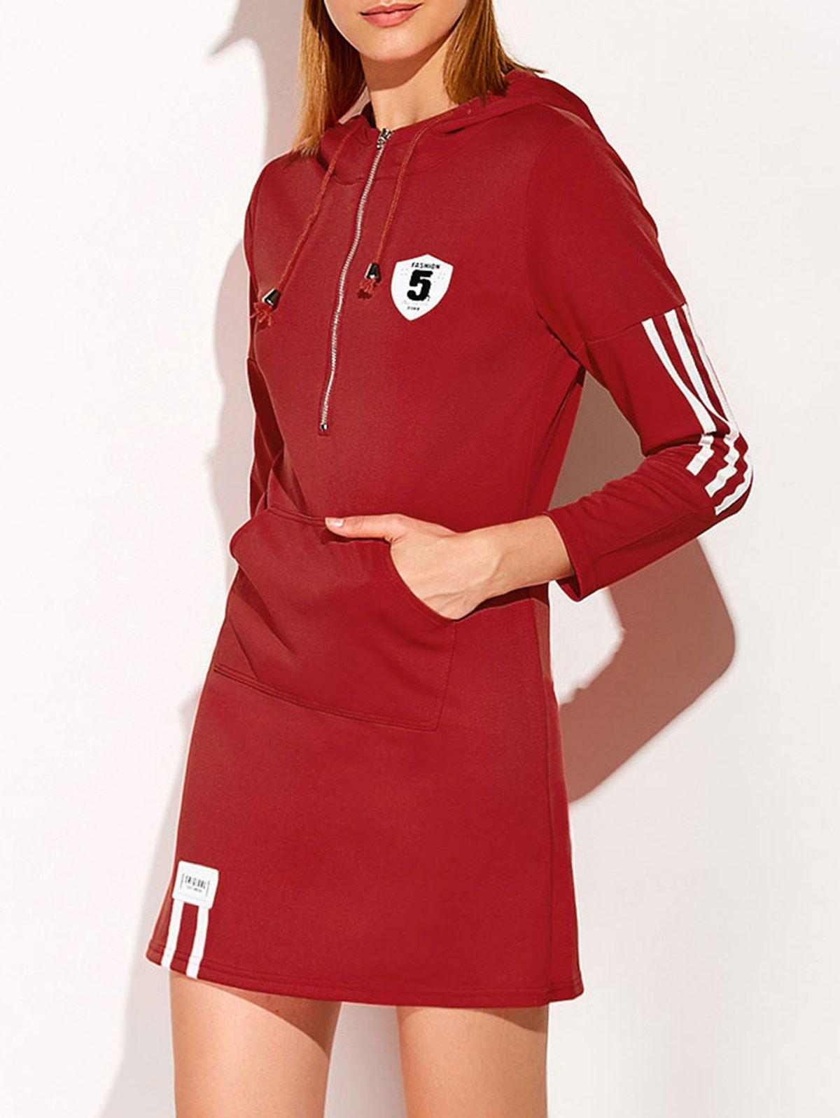 Online Hooded Zip Striped 5 Graphic Dress
