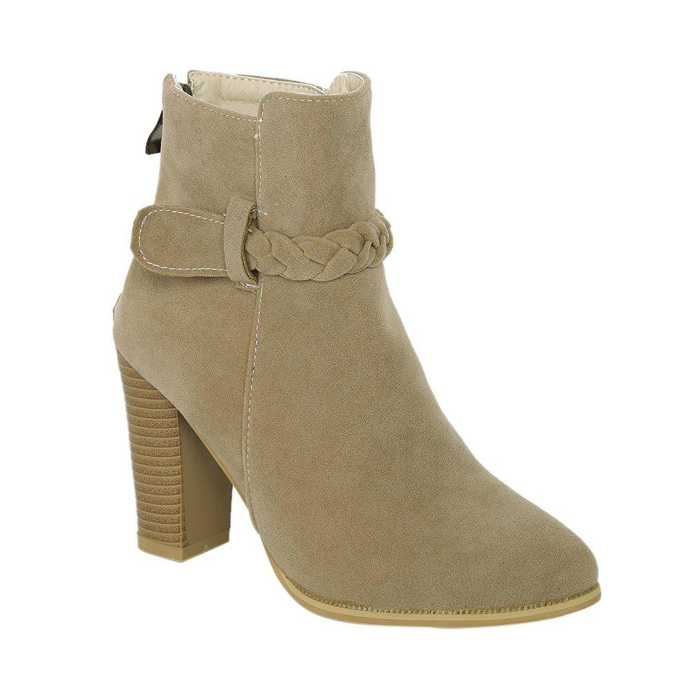 Affordable Zipper Weave Chunky Heel Ankle Boots