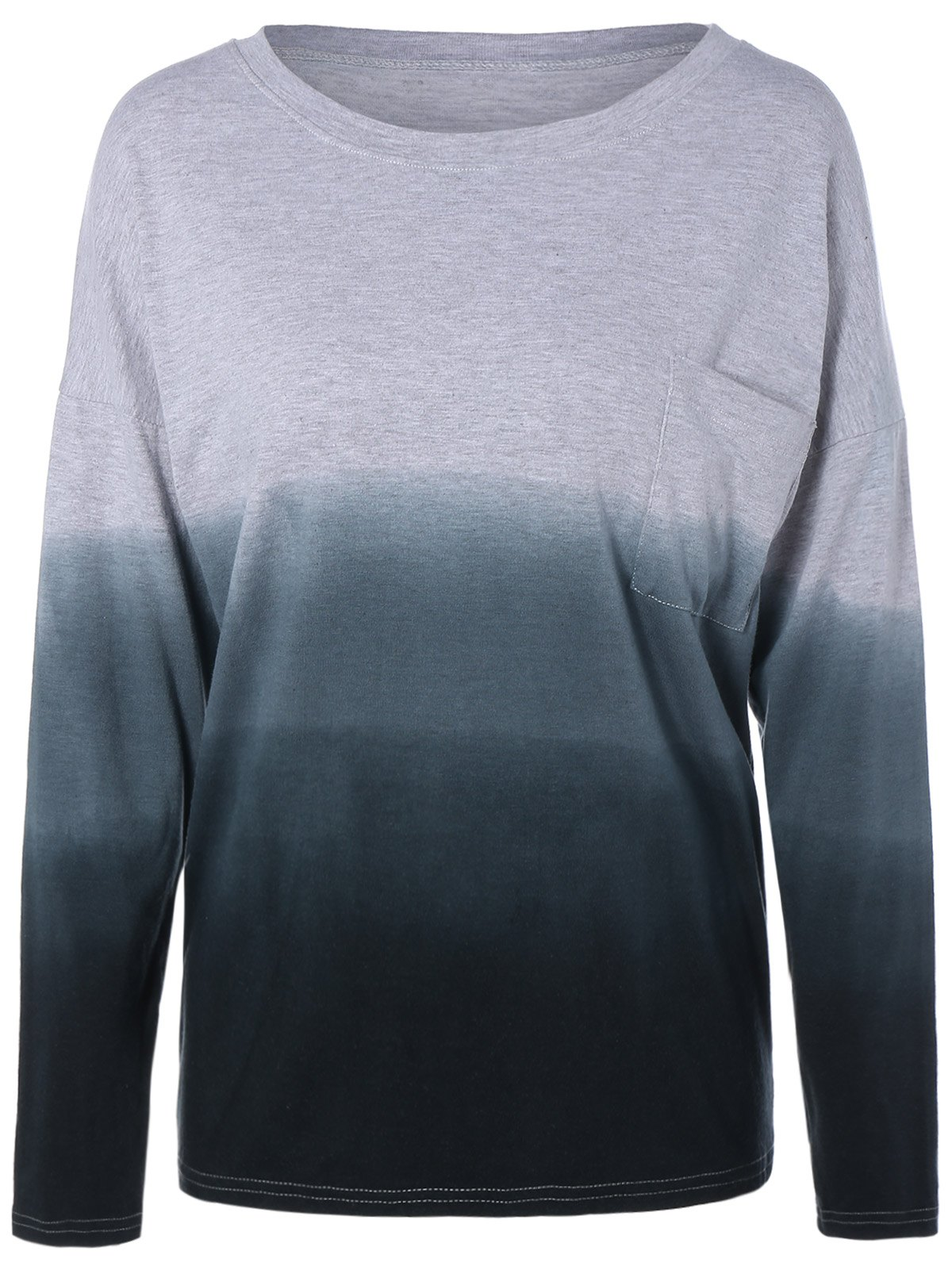 Affordable Plus Size Ombre T-Shirt with Pocket