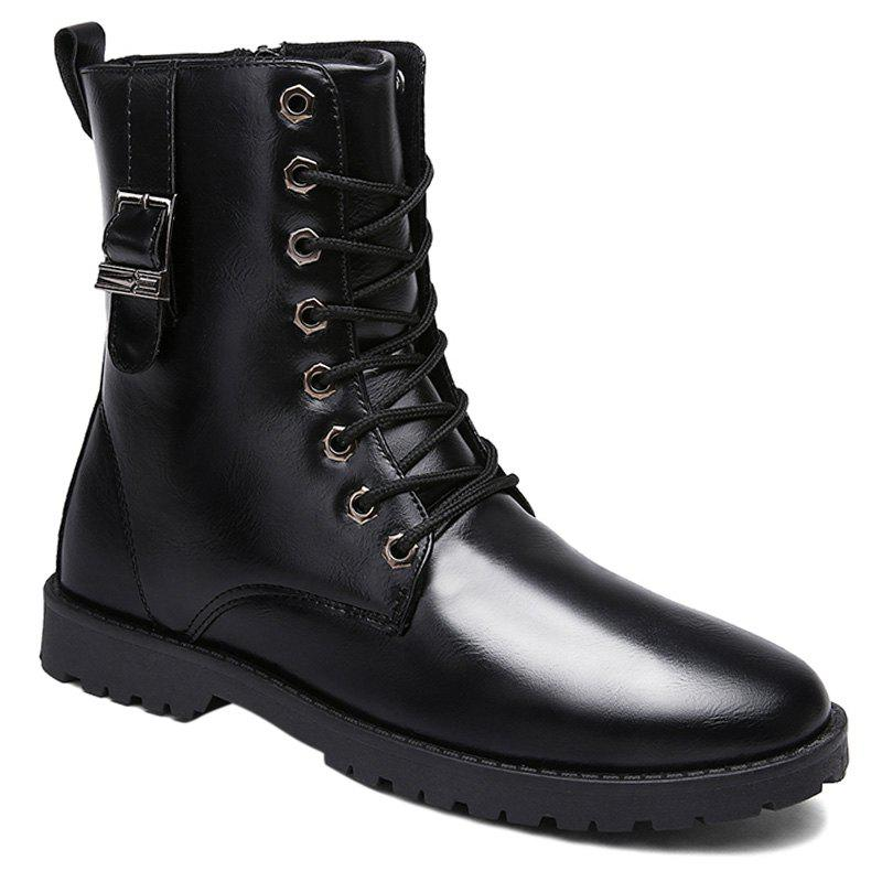 Chic Eyelet Buckle Strap PU Leather Combat Boots