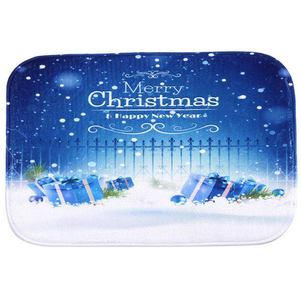 Merry Christmas Snowing Antiskid Soft Absorbent Doormat CarpetHOME<br><br>Color: BLUE; Type: Carpet; Material: Fleece Fabric; Style: Contemporary; Shapes: Rectangle; Size(CM): 40*60; Weight: 0.480kg; Package Contents: 1 x Carpet;