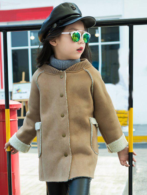 Outfit Shearling TrimStand Collar Faux Suede Coat