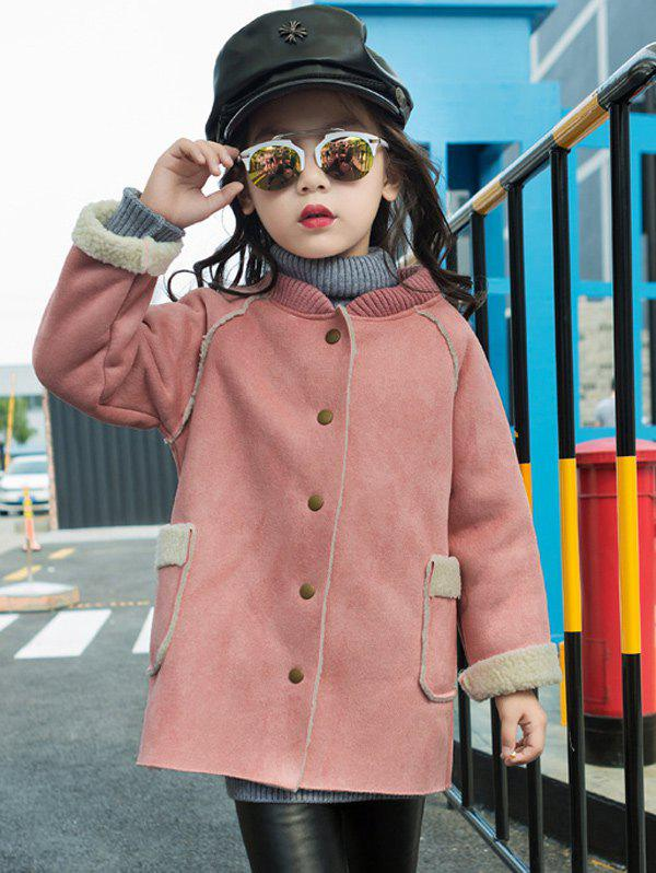 Fashion Shearling TrimStand Collar Faux Suede Coat