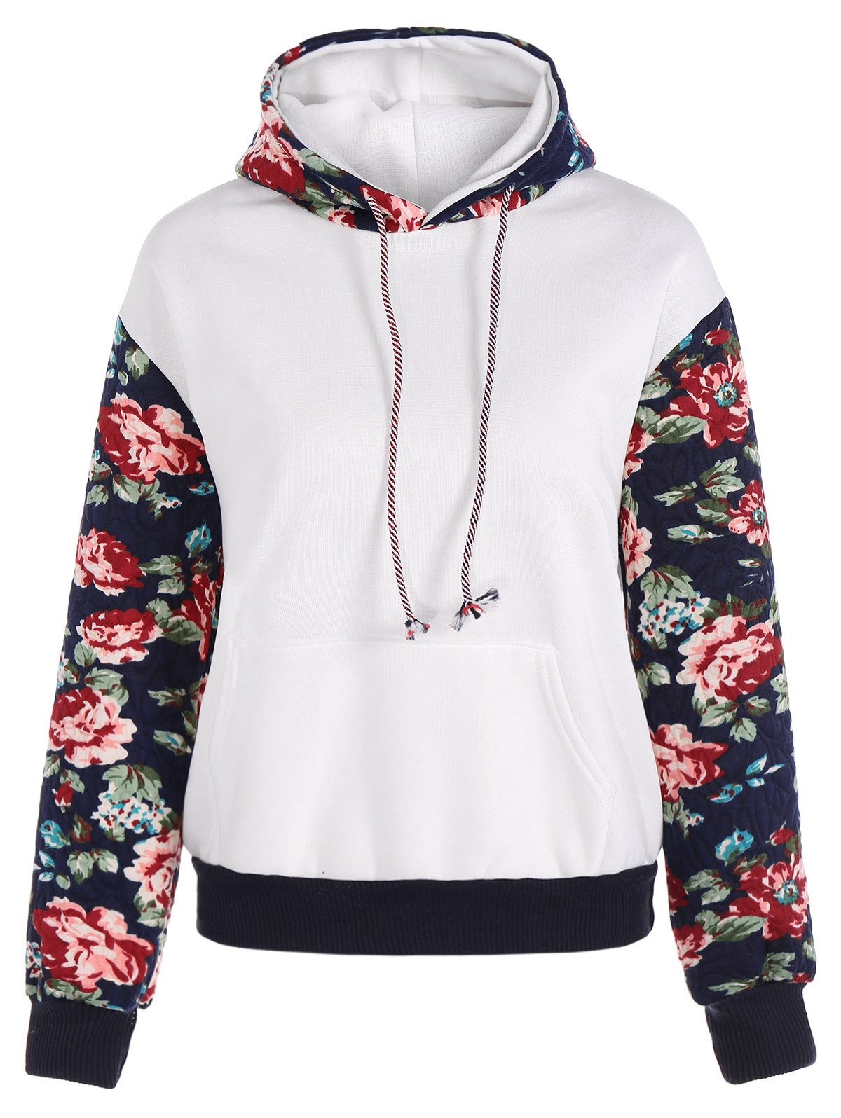 Cheap Stylish Long Sleeve Floral Spliced Women's Pullover Hoodie